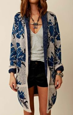 Long cardi, shorts, tee, jewelry Refined Style