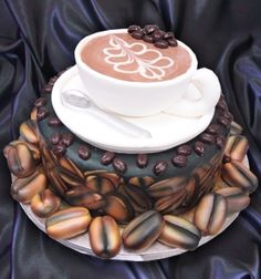 Cake Shaped Like Coffee Beans and Coffee Cup. OH MY GOODNESS GRACIOUS I NEED THIS RIGHT NOW.