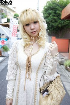 """Gorgeous vintage Gunne Sax dress worn by Japanese girl with """"Dolly Kei"""" fashion style."""