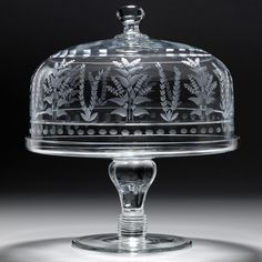 """William Yeoward Crystal """"Portia"""" Cake Stand & Dome, 12"""" 