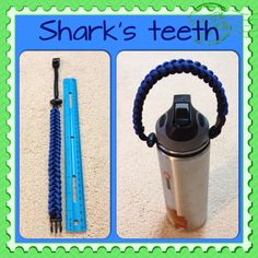 Made this black and blue shark's teeth paracord handle for my son's hydroflask.