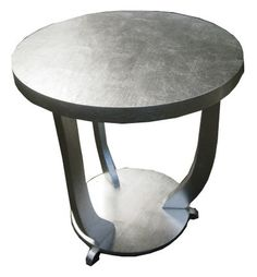 French Art Deco Silver Leaf Occasional Table