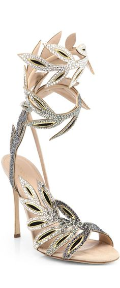 #Sergio Rossi Flora Crystal-Encrusted Wrap Sandals