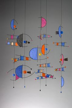 """Carnival Dreams hand painted rice papers, reed, fiber, wood, paper mache, 70"""" x 42"""" x 32"""" 2010 Patty Sgrecci Mobiles & More"""