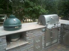 Outdoor Kitchen - White Plains, MD; built-in grill and Big Green Egg; Granite…