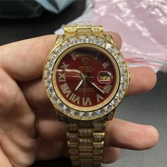 Day-date Iced Out Red Face Roman Numeral Luxury Watch