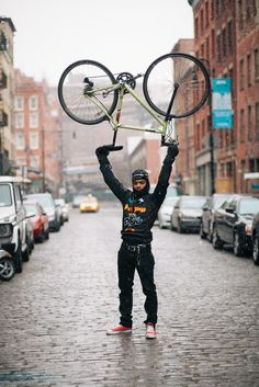 Alex rides a Mercier Galaxy photographed on Beekman St., Manhattan waiting for the Monster Track alleycat race to begin before going to his food delivery job