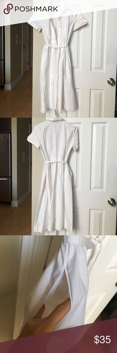 Ann Taylor Loft - White button up dress Worn once in excellent condition. Size 2 🌼 Ann Taylor Dresses