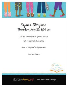 """Looking to promote your PJ storytime? LibraryAware's ready-to-go flyers are a great way to start. Search for """"storytime"""" under Flyers-Events."""