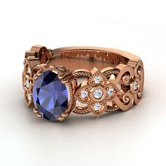 Oval Sapphire 14K Rose Gold Ring with White Sapphire | Mantilla Ring | Gemvara