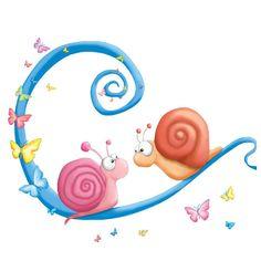 LAMINAS PARA DECOUPAGE 3 (pág. 173) | Aprender manualidades es facilisimo.com Snail Cartoon, Cartoon Garden, Snail Cards, Art Fantaisiste, Cute Clipart, Kids Room Wall Art, Happy Paintings, Chalk Art, Cartoon Images