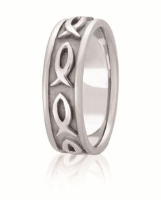 Hand Made Christian Fish Symbol Wedding Band With High Polished Edges For Men & Women Available In Various Widths And Finishes In Your Choice Of 14K & 18K White, Yellow, Rose & Two Tone Gold, Platinum & Palladium