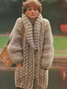 Instant Download PDF Vintage Knitting Pattern Ladies Superb Over-size Baggy 3/4…