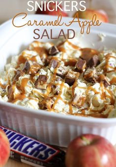 4 Granny Smith apples, peeled, cored, and chopped. 4 lg Snickers bars, chopped. 1 cup roasted peanuts. Cream together 1 brick cream cheese with 1 cup caramel ice cream topping. Mix together all the ingredients. Drizzle with extra caramel, some chopped snickers, and peanuts.