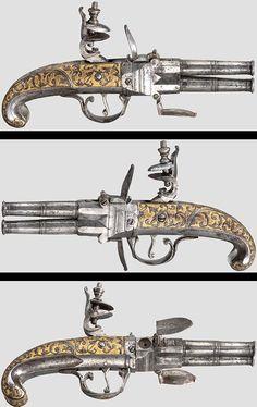 An all-metal flintlock wender pistol,  Tula, 2nd half of the 18th century, Russia.