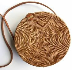 Handwoven Bali Round Crossbody Straw Rattan Bag