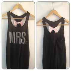 MRS Tank Top / Bride Workout Shirt / Bow by BridalBlissCouture, $19.95