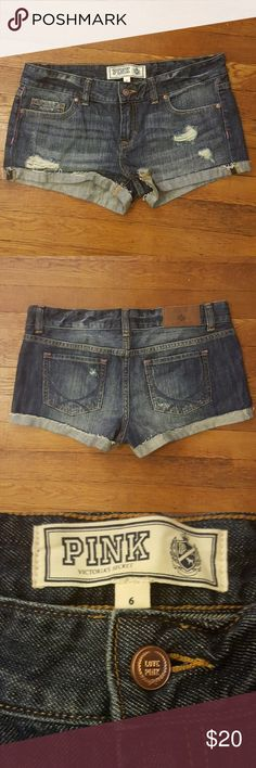 Victoria's Secret Pink distressed denim shorts Perfect jean shorts for the summer Waist 16.5 inches Inseam 2 inches PINK Victoria's Secret Shorts