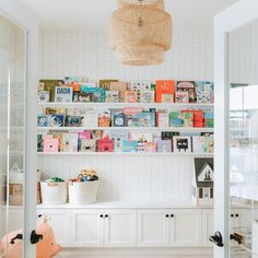 Playroom – with California Closets – white shelves, lots of books, and built. California Closets, Playroom Design, Playroom Decor, Playroom Closet, Playroom Ideas, Colorful Playroom, Kid Playroom, Playroom Layout, Kids Playroom Storage