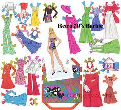 Retro Barbie Vintage Fashion Paper Doll 1976 Retro Groovy