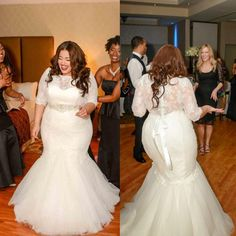 Plus Size Lace Wedding Dresses Mermaid Bridal Gown With Long Sleeves 2016 New