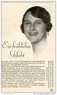 Original-Werbung/ Anzeige 1928 - MARY PICKFORD / STEPHAN SCHUHE BERLIN- NOWAWES -  ca. 70 x 110 mm