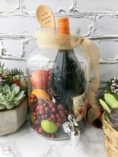 Sangria and succulent garden gift basket ideas for women! Great hostess gift for… Sangria and succulent garden gift basket ideas for women! Great hostess gift for the holidays. Diy Christmas Baskets, Christmas Diy, Xmas, Diy Holiday Gifts, Hostess Gifts, Holiday Decor, Jar Gifts, Wine Gifts, Sangria