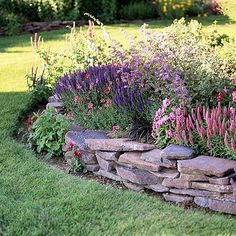 Pastel Retaining Wall Garden Plan. ********** The stone is not what I had in mind for my backyard! **********