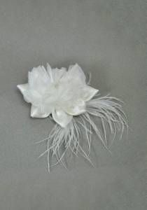 White Bridal Flower Pin--Style # 1014. Silk, Ostrich Feather