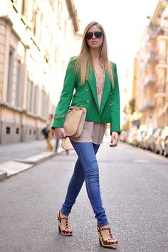 Green and nude, plus Valentino bag and shoes! (by Chiara Ferragni) http://lookbook.nu/look/1758206-Green-and-nude-plus-Valentino-bag-and-shoes