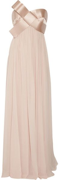 Notte By Marchesa Blush Ribbon Embellished Strapless Silk Gown