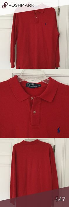 Polo by Ralph Lauren long sleeve shirt. Red long sleeve polo shirt. Great condition. Polo by Ralph Lauren Shirts Polos
