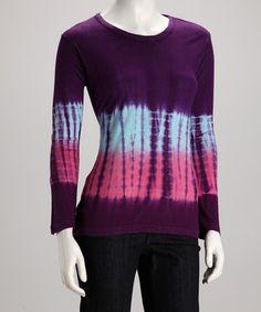 Purple Tie-Dye Top by Windhorse #zulily #zulilyfinds