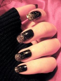 glitter nail art, black glitter nails and glitter nails.