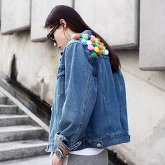 Pin for Later: 15 In-jean-ious Ways to Pimp Your Denim Jacket Pom-Poms