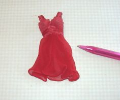 Flouncy Short Nightgown w/Lace Bodice, Red: DOLLHOUSE Miniatures 1/12 Scale