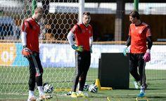 Neuer, Zieler, and Weidenfeller at training Wednesday June 11 WC 2014