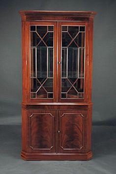 Traditional mahogany corner china cabinet