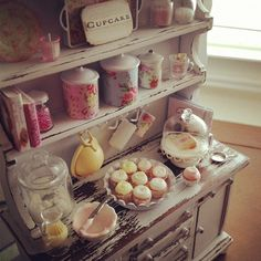 1:12 scale // Miniature filled shabby chic baking hutch door Kimsminibakery