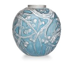 BAIES VASE, NO. 894 designed 1924, clear, frosted and blue stained, intaglio R. LALIQUE, 10 ½ in. (27 cm.) high