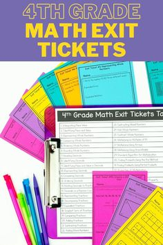"""65 4th grade exit ticket templates to help check for mastery on commonly taught math skills. Each exit ticket or """"mini-check"""" contains 3 questions to do a quick check to see if students are understanding a specific math skill. These mini-checks can be used as a pre-assessment, diagnostic, exit ticket, or as a tool to help identify students that need to be pulled in a small group. Great for 3rd grade, 4th grade and 5th grade. Help Teaching, Teaching Reading, Teaching Math, Learning, Teacher Toolkit, Feedback For Students, Exit Tickets, Formative Assessment, 5th Grade Math"""