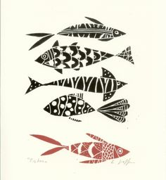 Fishes - Linocut by Giuliana Lazzerini, The Bluebird Gallery
