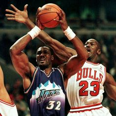 The GOAT zeros in on Karl Malone's shot for a blind side block during the finals in Chicago.