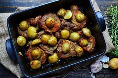 Herbed Pork Blade with Roasted New Potatoes by alexjuncu.ro: Stick everything in the oven and wait! #Pork #Potatoes