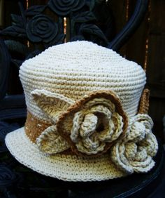 Crochet Hat with  Chic flower oh my goodness, I love this so much!