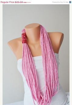 ON SALE SCARF- wool chain necklace - Infinity Scarf , Noodle Scarves Fashion Neckwarmer Circle Necklace Chunky Cowl pink