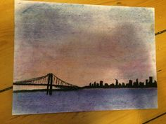Huge bridge made with chalk pastels