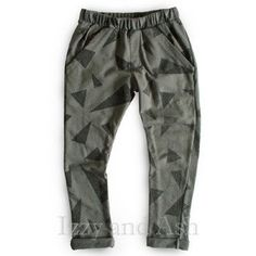 Joah Love Fall 2016 collection features their Joah Love Boys Print Titanium Pant. This bestselling boys' bottom is a steel grey, triangle printed pant with front pockets and an elastic waist. This mad