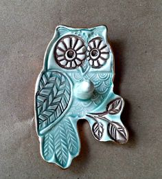 Ceramic Owl with Aqua and brown Ring Holder Bowl edged in gold