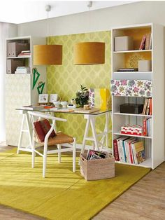 Perfect for a home office/guest room with a daybed on the opposite wall Mesa Home Office, Home Office Desks, Bookshelf Desk, Bookshelves, Small Bookshelf, Inspiration Design, Room Inspiration, Design Ideas, Yellow Home Offices